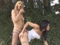Due troie transessuali con le tette grosse fanno sesso all'aperto